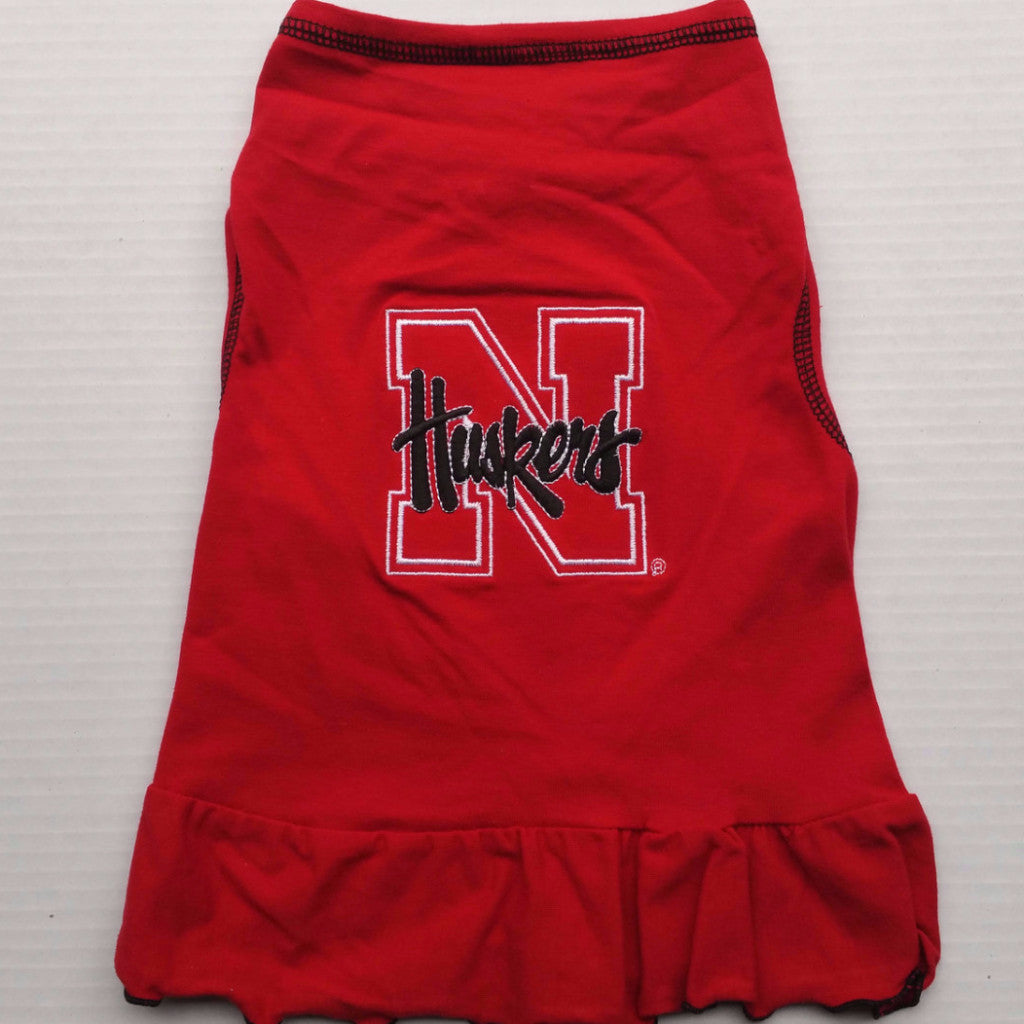 Nebraska Huskers Cheerleader Dog Dress With Black Huskers
