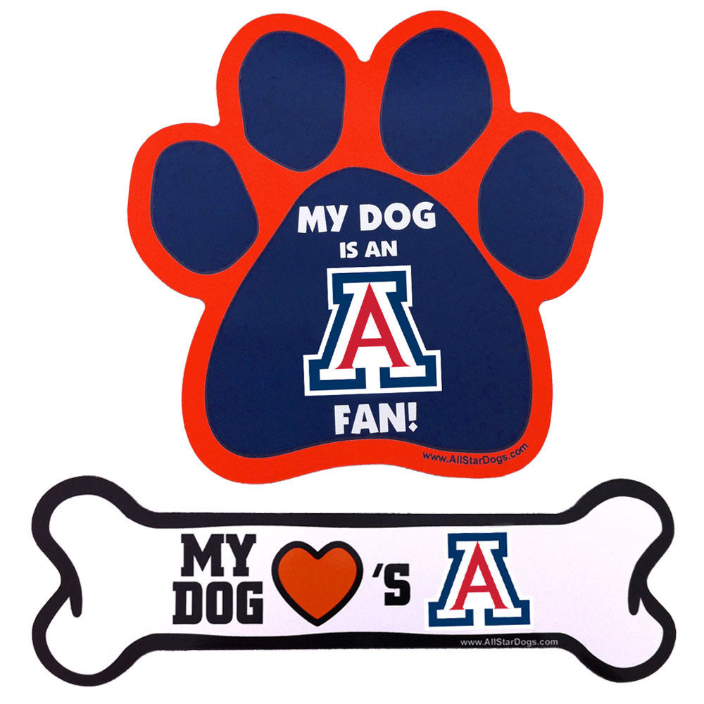 Arizona Wildcats Dog Paw and Bone Magnet