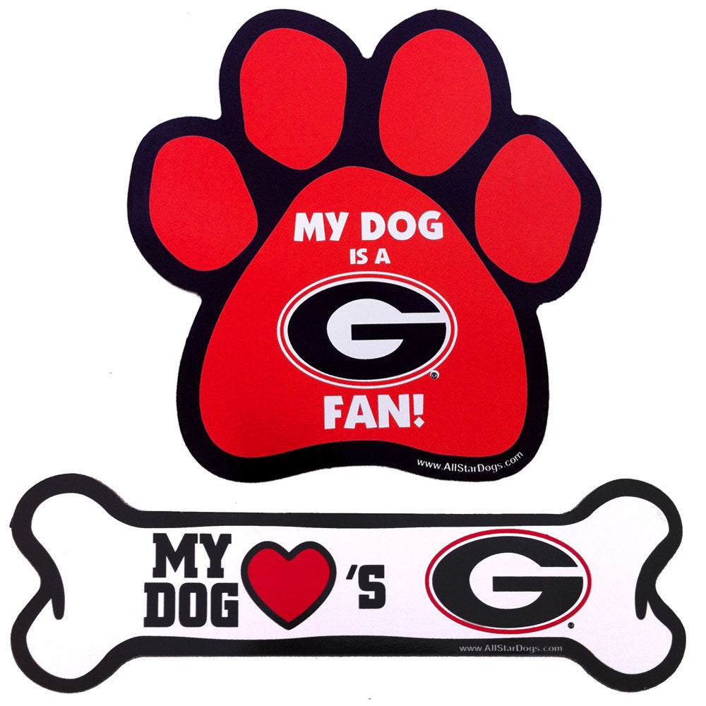 Georgia Bulldogs Paw and Bone Magnet