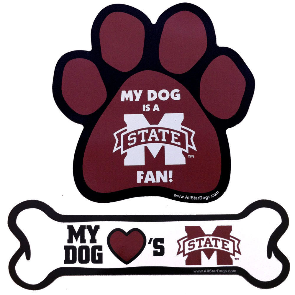 Mississippi State Bulldogs Paw and Bone Magnet