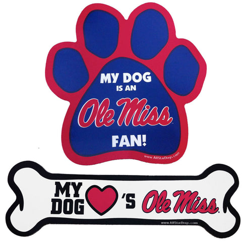 Ole Miss Rebels Dog Paw or Bone Magnet