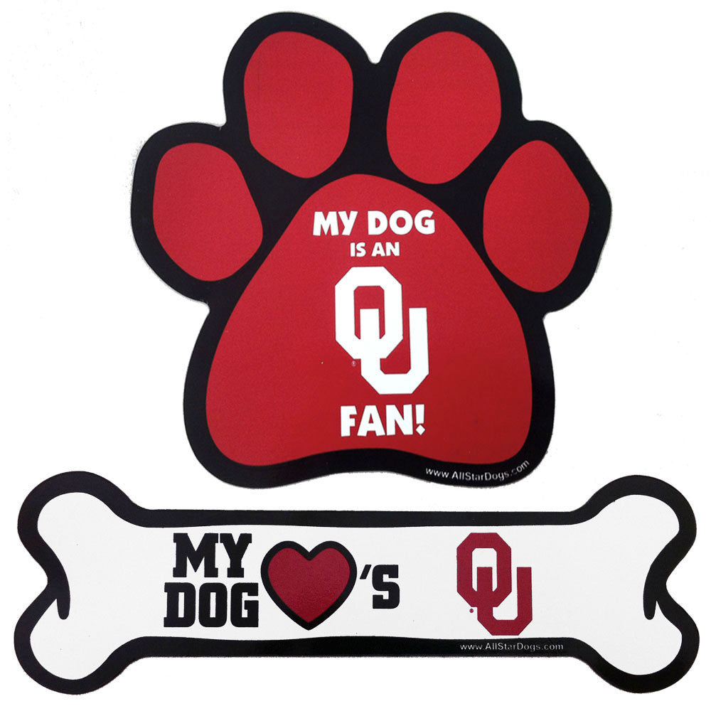 Oklahoma Sooners Paw and Bone Magnet