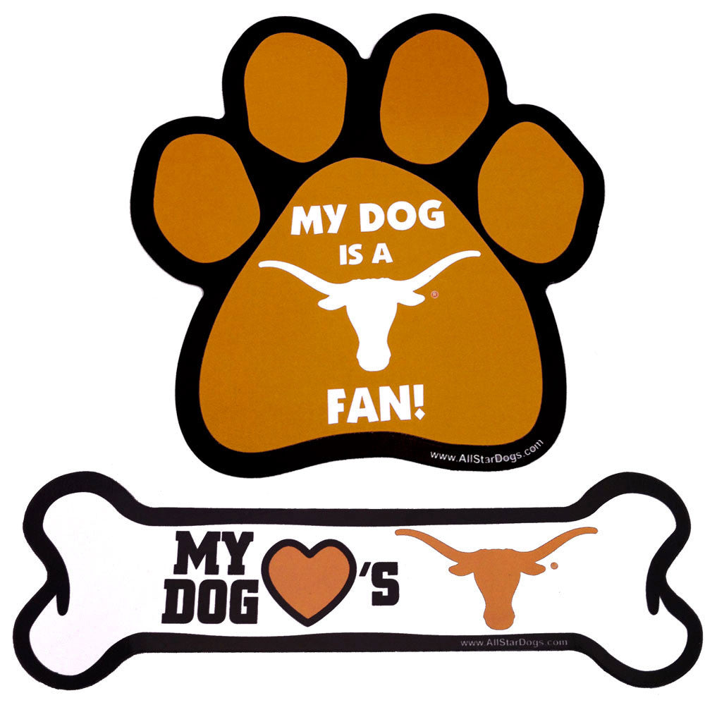 Texas Longhorns Dog Toy Paw and Bone Magnet