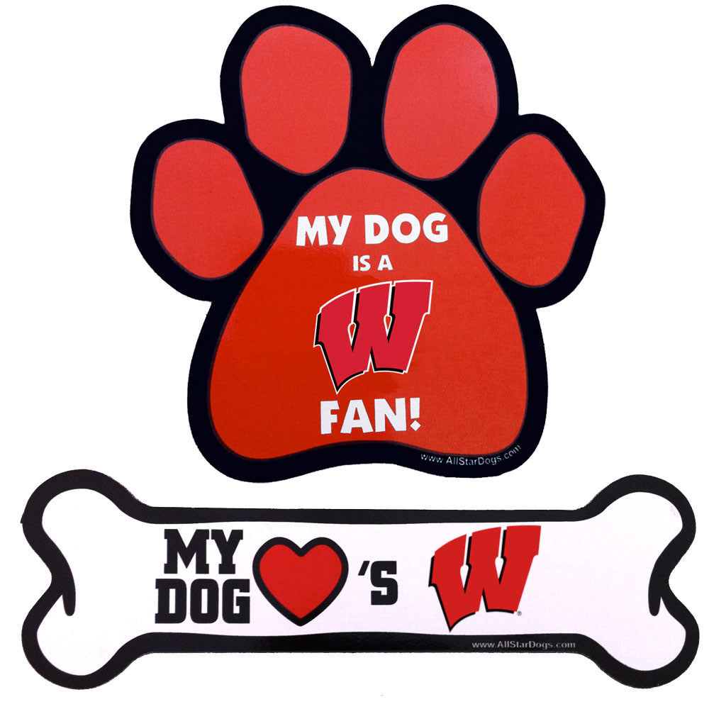 Wisconsin Badgers Paw and Bone Magnet