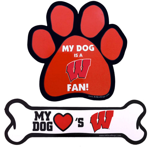Wisconsin Badgers Paw or Bone Magnet
