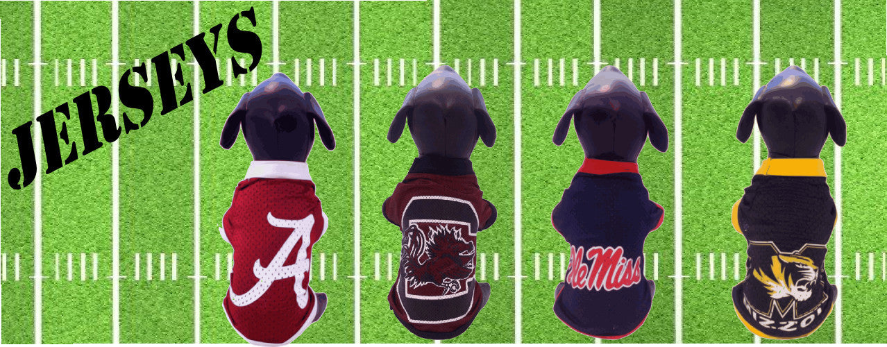 Game Day Dogs collection of officially licensed NCAA dog jerseys.