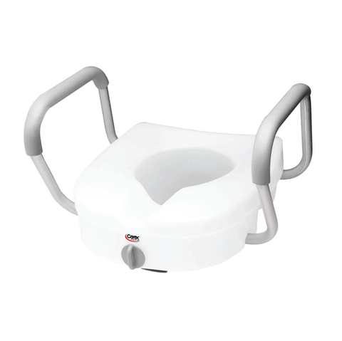 Carex E-Z Lock Locking Raised Toilet Seat w/Armrests
