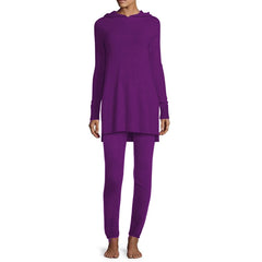 Fleece Hooded Loungewear Set - Purple