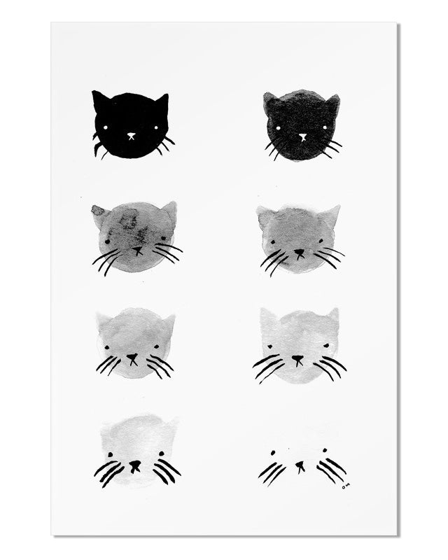 Greyscale Kitties Art Print-Stay Home Club-Strange Ways