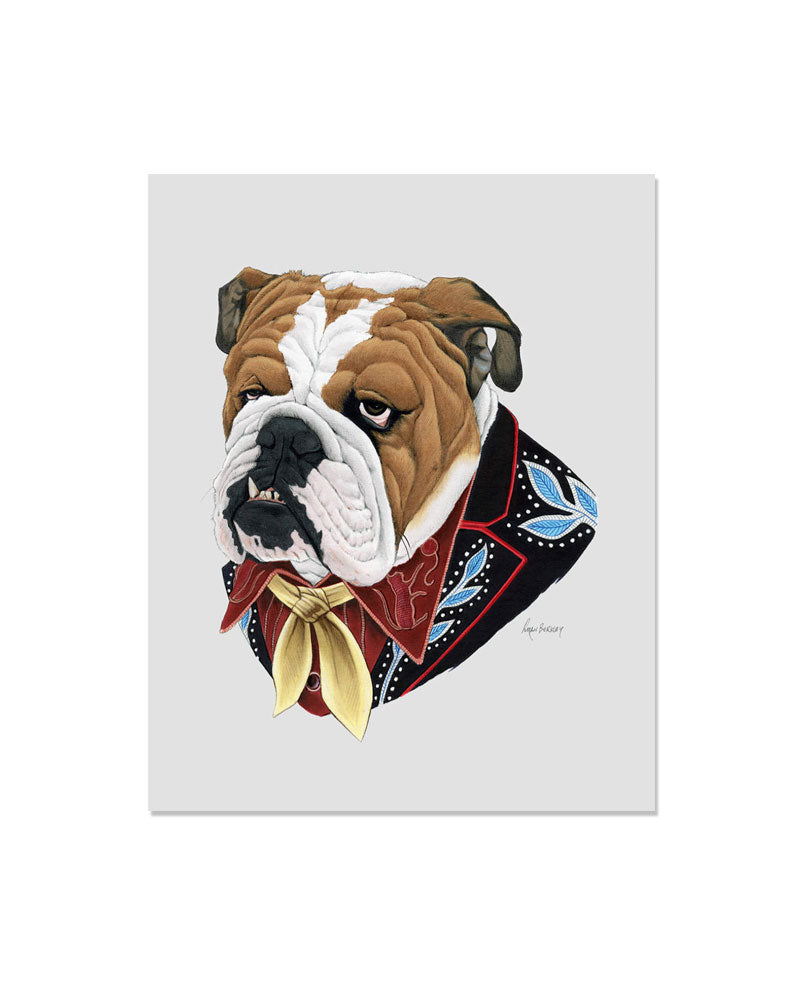 Cowboy Bulldog Art Print-Ryan Berkley Illustration-Strange Ways