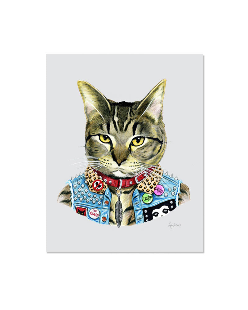 Punk Cat Art Print-Ryan Berkley Illustration-Strange Ways