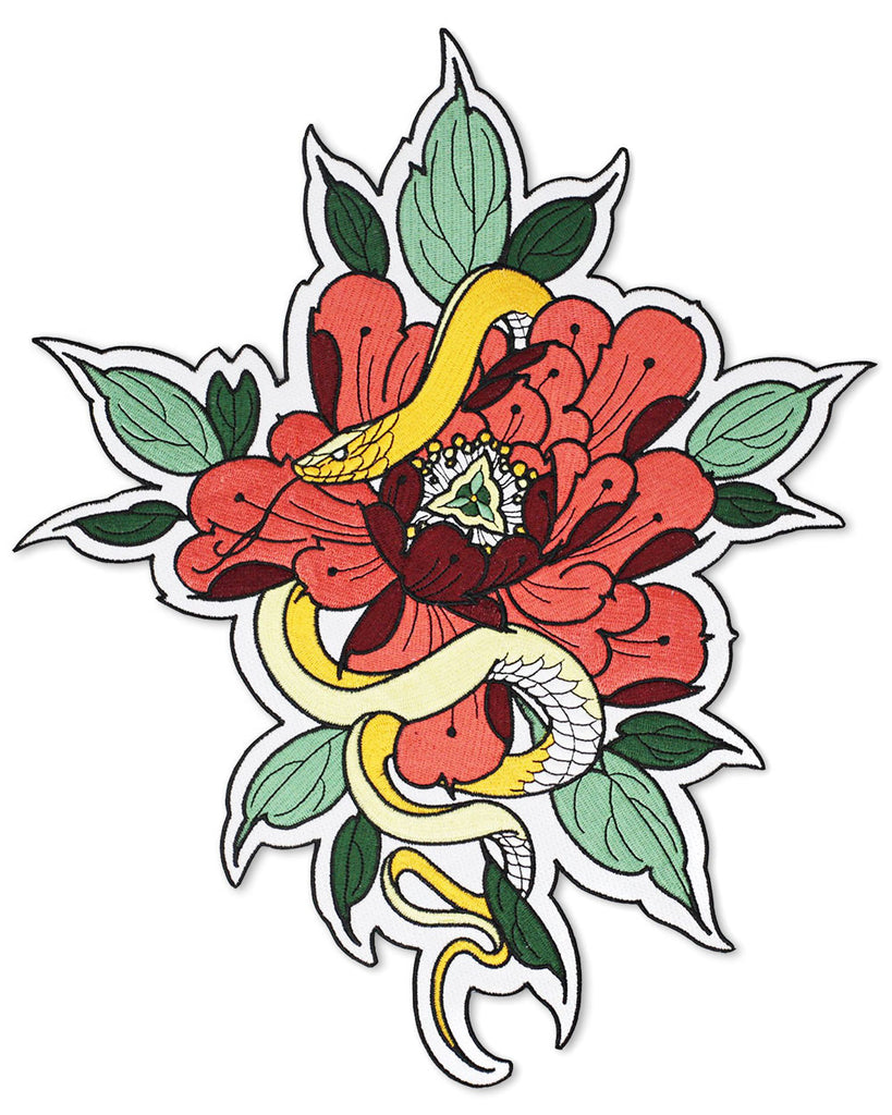 Floral Snake Large Back Patch-Mean Folk-Strange Ways