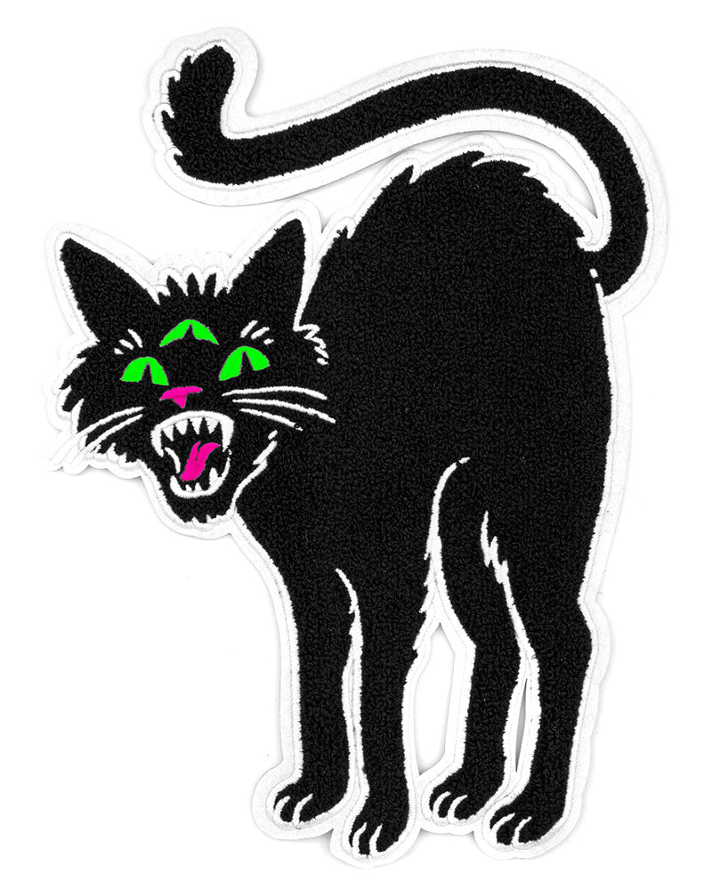 Three Eyed Black Cat Large Chenille Back Patch-Band Of Weirdos-Strange Ways