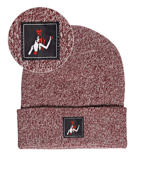 Dance With The Devil Beanie - Burgundy Marl-Mean Folk-Strange Ways