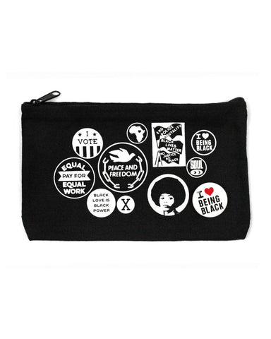 Black Power Buttons Zip Pouch (Limited Edition)