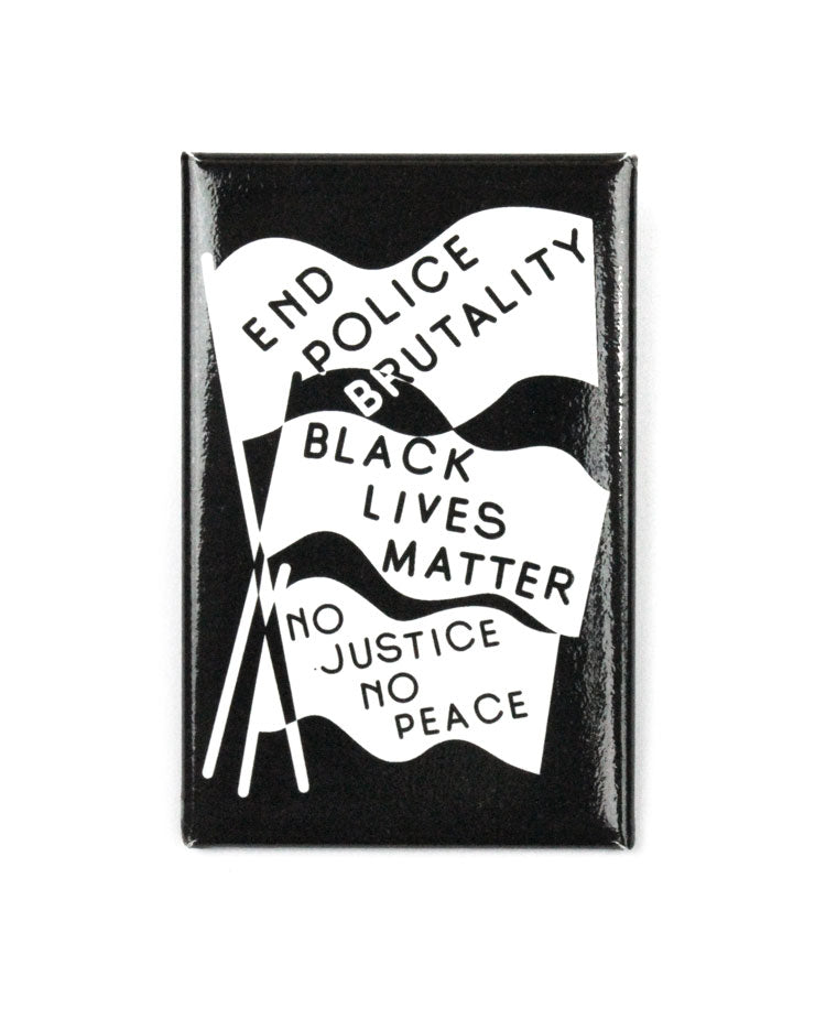 End Police Brutality Big Pinback Button-All Very Goods-Strange Ways