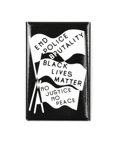 End Police Brutality Big Pinback Button