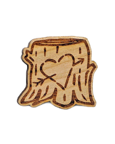 Carved Heart Wooden Pin