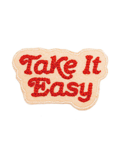 Take It Easy Chainstitch Patch - Creme
