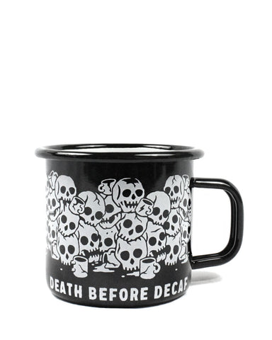 Death Before Decaf Enamel Coffee Mug