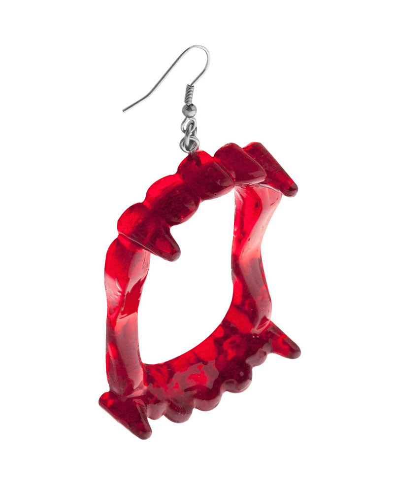 Vampire Fang Earrings - Ruby Red-Chaotic Good Jewelry Co.-Strange Ways