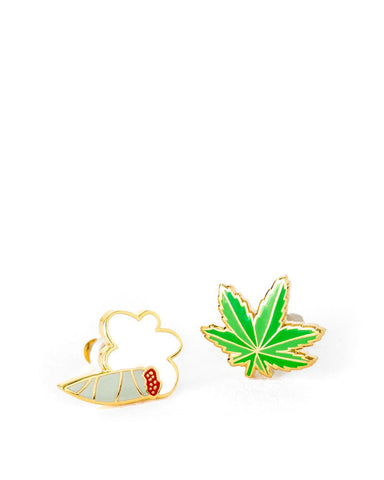 Marijuana Leaf & Joint Weed Earrings