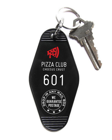 Pizza Club Hotel Key Tag Keychain