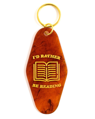 I'd Rather Be Reading Hotel Key Tag Keychain