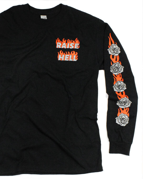 Raise Hell Long Sleeve Unisex Tee-Rosehound Apparel-Strange Ways