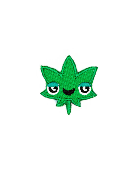 Pot Head Leaf Face Mini Sticker Patch-These Are Things-Strange Ways