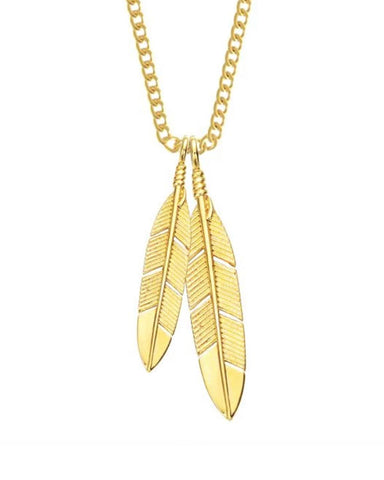 Feathers Necklace - Gold