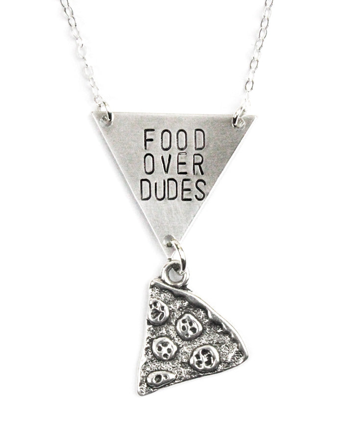 Food Over Dudes Pizza Necklace-Bang Up Betty-Strange Ways