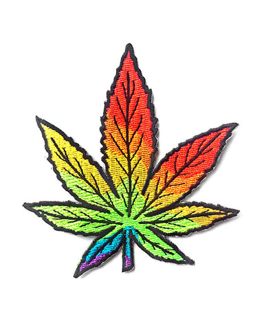 Rainbow Cannabis Leaf Patch
