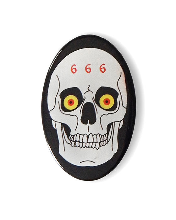 666 Metal Skull Big Button-Hungry Ghost Press-Strange Ways