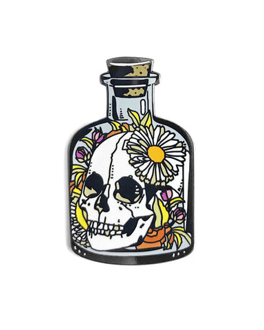 Skull Flower Bottle Pin