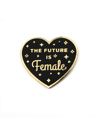 The Future Is Female Heart Pin - Black (Glow-in-the-Dark)