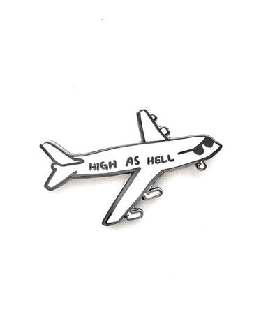 High As Hell Airplane Pin