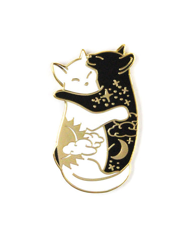Day & Night Hugging Cats Pin