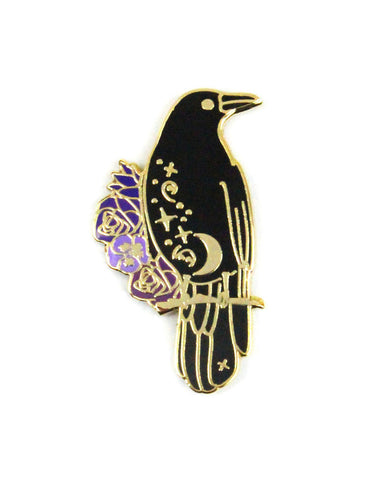 Magical Black Crow Pin