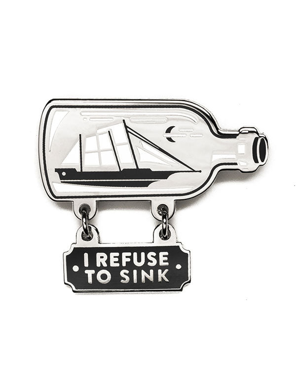 Refuse To Sink Bottled Ship Dangly Pin-Lost Lust Supply-Strange Ways
