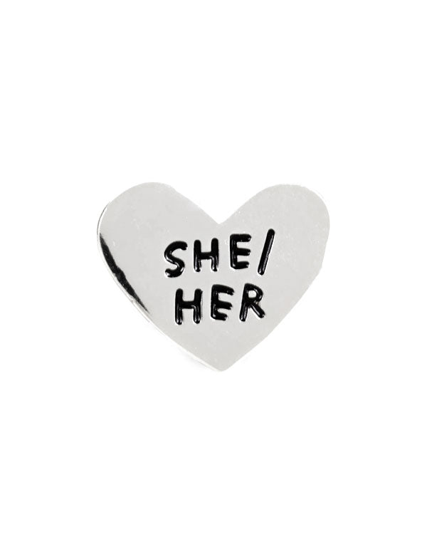She / Her Gender Pronoun Heart Pin-Adam J. Kurtz-Strange Ways