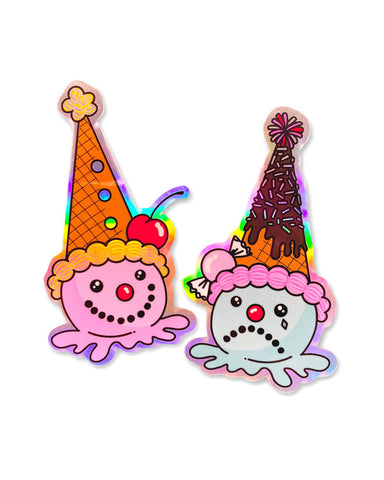 Clown Ice Cream Cones Holographic Stickers (Set of 2)