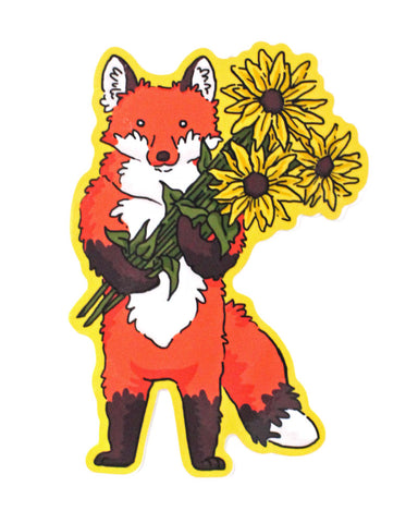 Fox With Flowers Sticker