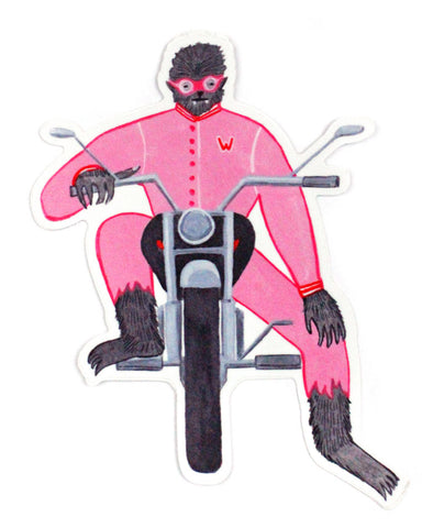 Werewolf Biker Large Sticker
