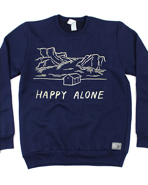 Happy Alone Crew Neck Sweatshirt-Stay Home Club-Strange Ways