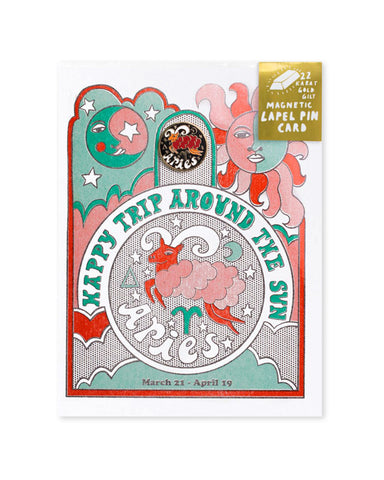 Aries - Astrology Birthday Card + Pin Combo