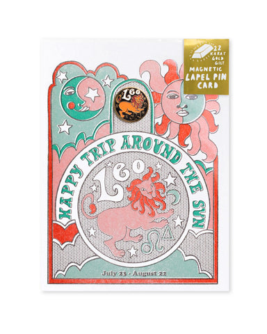 Astrology Birthday Card + Pin Combo - Leo