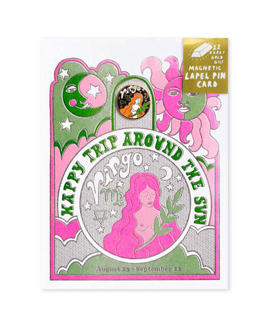 Astrology Birthday Card + Pin Combo - Virgo