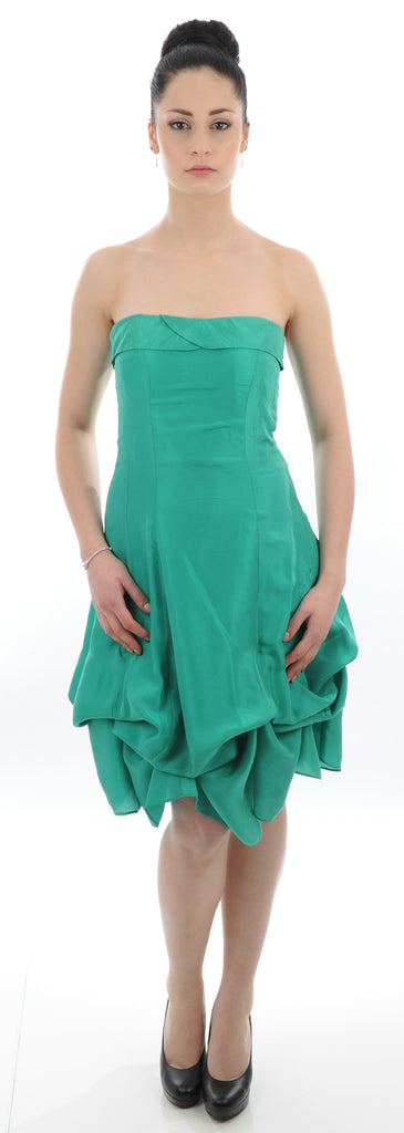 Knee Length bright green gathers Bridesmaid Dress