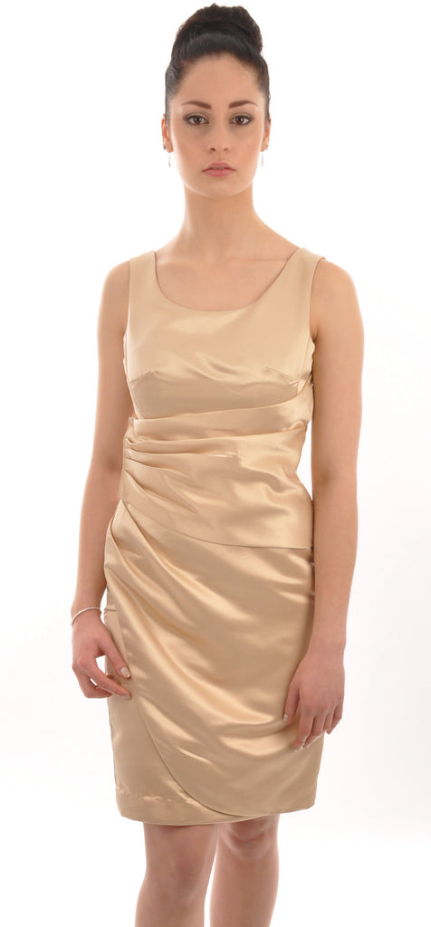 Champagne Satin Knee Length Side Ruched Bridesmaid Dress